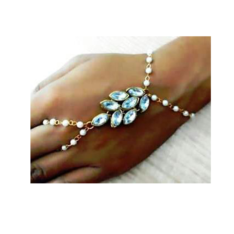 e255f8eea product-image. product-image. Home · Women's Fashion · Diamond and peals  jewellery; Gold Plated Pearl Metal Hath Phool/Hand Bracelet/Ring Braclet For  ...